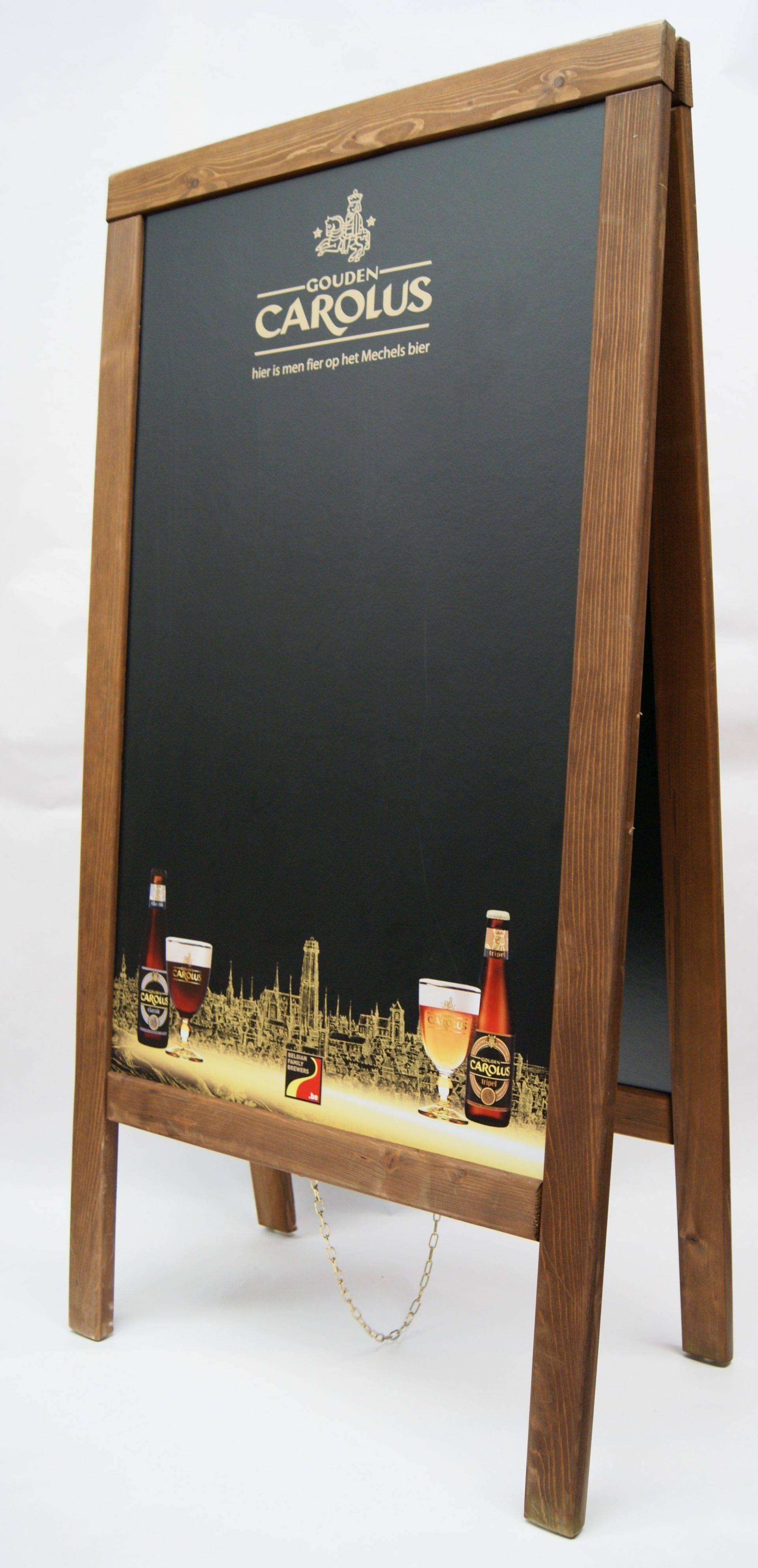 Houten stoepbord met bedrukking