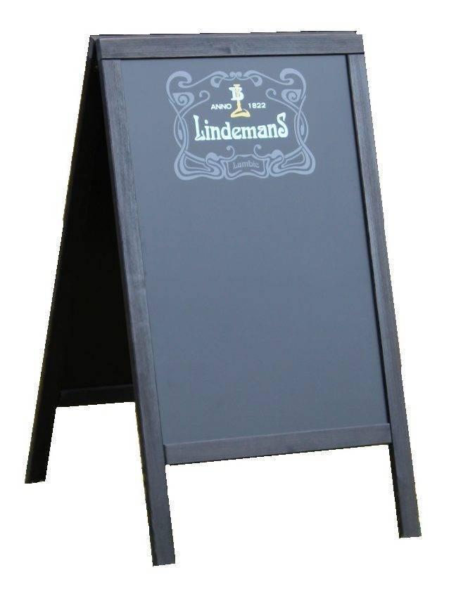 Zwart houten stoepbord